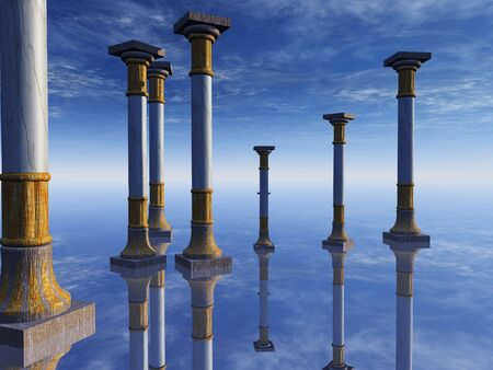 An abstract illustration background of stone columns on a mirrored floor horizon reflecting blue sky and clouds. Stock Photo