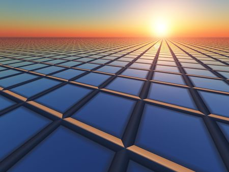 An abstract illustration business like background of grid perspective vanishing point to a sunrise.