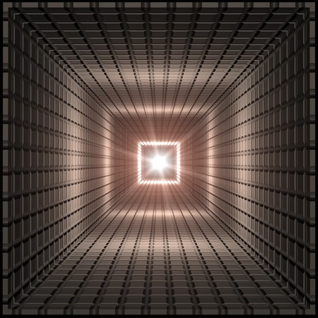grid: Perspective depth square cardboard like tunnel with bright flash of light at the end. Stock Photo