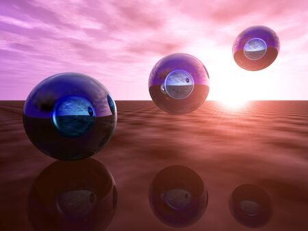 refraction: Abstract technology background with impossible light refraction on blue glass orbs.