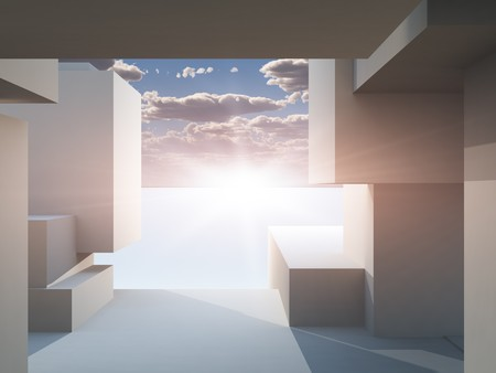 An abstract background of a stage building perspective looking out into the bright sun horizon.