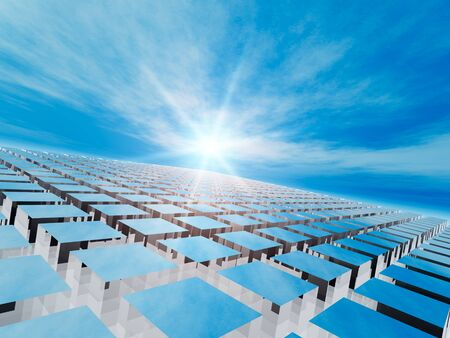 array: An abstract background of a tiled array perspective into the horizon Stock Photo
