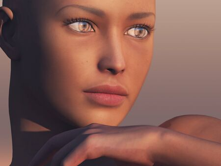 A close up of a digital woman face admiring a late sunset. photo
