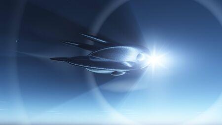 Retro ruimte schip in de diepe ruimte raken warp snelheid tegen een ster