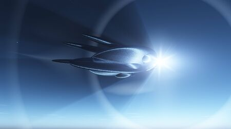 Retro space ship in deep space hitting warp speed against a star photo