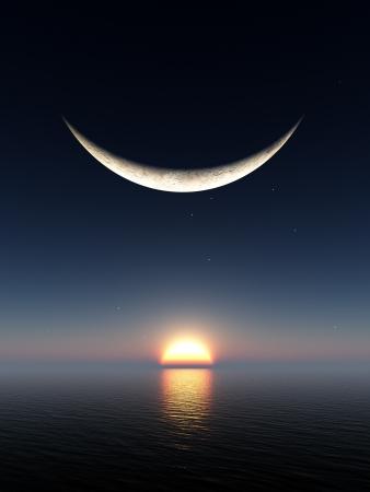 Een glimlach vorm fantasie maan boven de horizon van een zons opgang en water