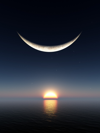"wschód słońca: UÅ›miech ksztaÅ'tu fantasy księżyca nad wschodzie sÅ'oÅ""ca i wodÄ™ horizon"