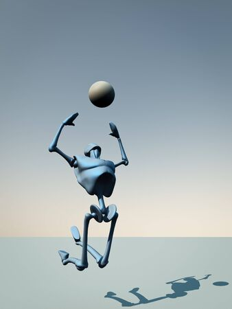 A robot jumping to catch a ball. Stock Photo - 7517390