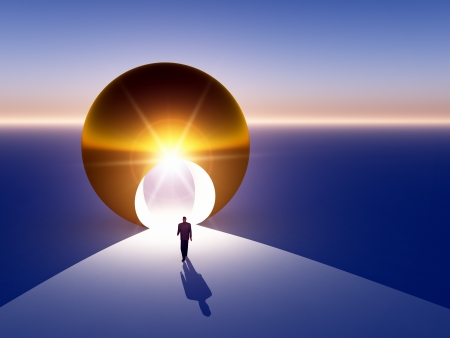 A modern abstract businessman walking to door into a large gold globe.