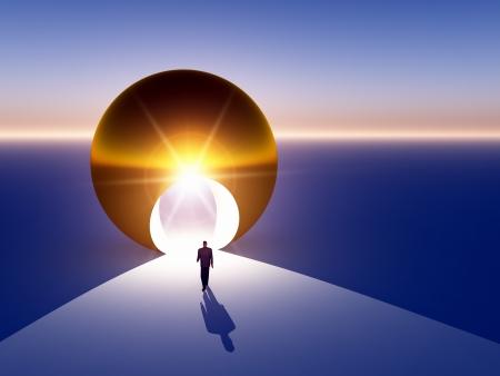 vision futuro: Un empresario abstracto moderno caminando a puerta en un gran globo de oro.  Foto de archivo