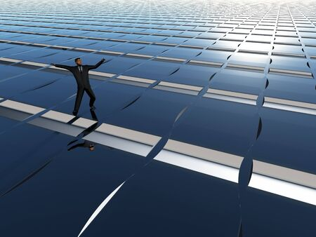 perspective grid: A businessman balancing on perspective grid background.