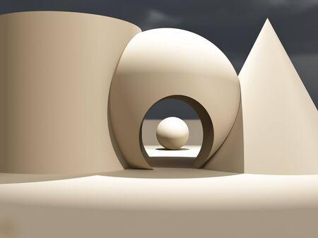 기본 모양과 입구가있는 현대적인 현대 무대.