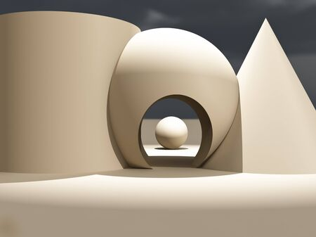 Een moderne eigentijdse fase met eenvoudige vormen en ingang.  Stockfoto