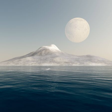 full day: A day full moon over mountain and sea fantasy. Stock Photo