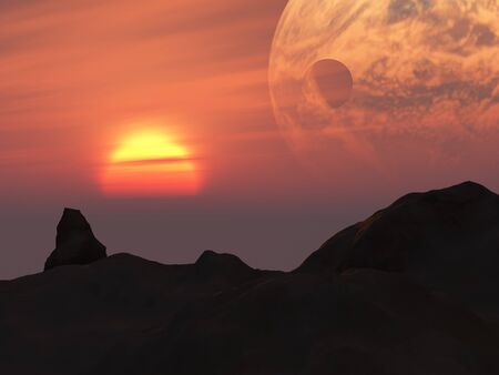 A fantasy landscape of dark hills, sun, red sky and alien orbiting planet photo