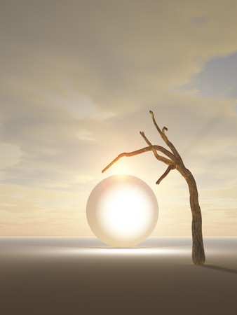 A tree hangin over a crystal portal to another world. Stock Photo