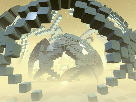 A frame of an abstract stage hall with a dome from cubes.