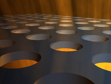 metallic background: A close up of a grid stage floor with holes and rays of light streaming through.