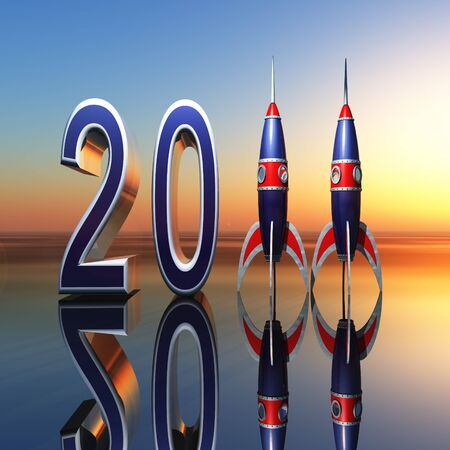 A New Year celebration background 2011 with rockets standing for eleven against horizon. Imagens