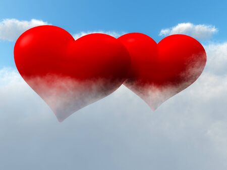 true love: Two red love heart shaped floating in sky in the Clouds.