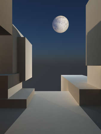entertaining area: an abstract illustration of a framed stage background with full moon.