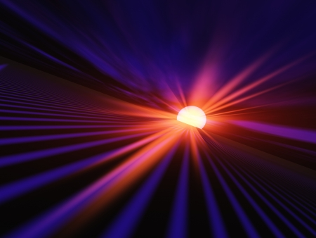 An abstract illustration of a red dawn sun flash sending light down a High Speed Grid. illustration