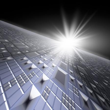 perspectiva lineal: Una perspectiva del horizonte de cuadr�cula de tecnolog�a con flash estrella para el fondo de la portada.