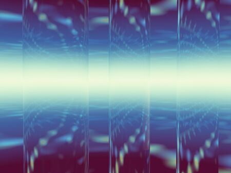 refracting: Blue background with clear tubes refracting lights, use for business and technology backgrounds.