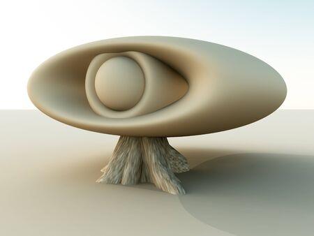 지상에서 형성하는 거 대 한 초현실적 인 눈의 추상 그림.