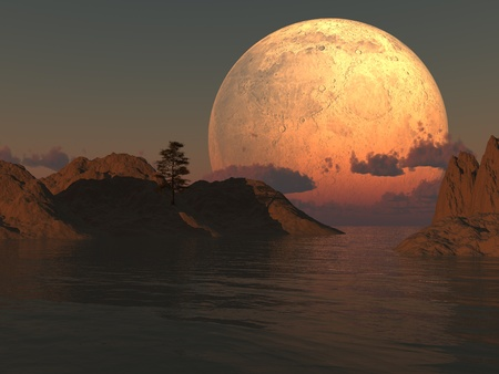 Moon island lake illustration with a lone tree.