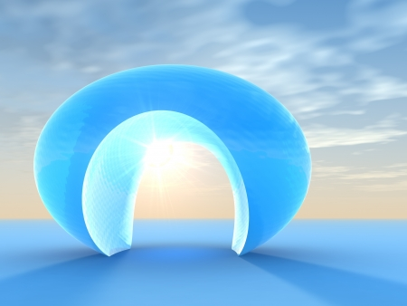 A surreal crystal blue doorway arch on a lighted horizon. Abstract concept of hope for a perfect opportunity.