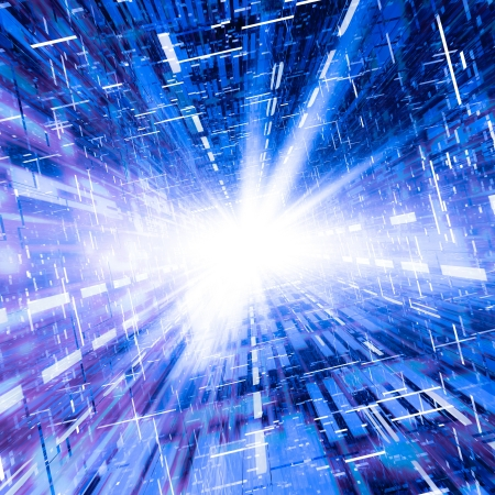 technology: A square conduit of electronic technology lights.  Abstract concept of a high speed communications conduit ramp to the Internet.