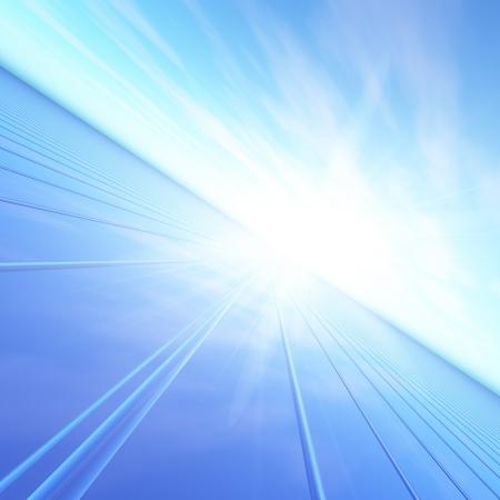 perspectiva lineal: Una ilustraci�n de un destello azul del amanecer dom enviar luz por una red de alta velocidad. Concepto abstracto con visi�n de futuro para el futuro.