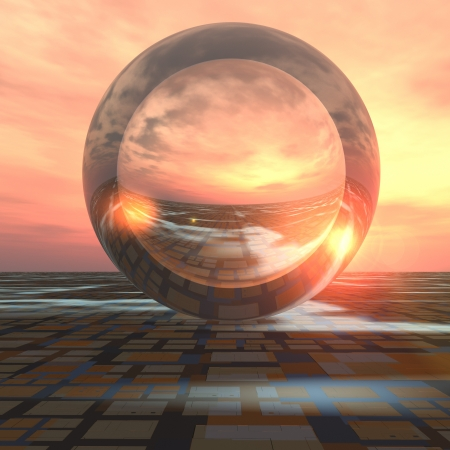 A sunrise over grid horizon with a giant crystal ball background. Abstract concept to forecasting the future or cloud computing. Stock Photo