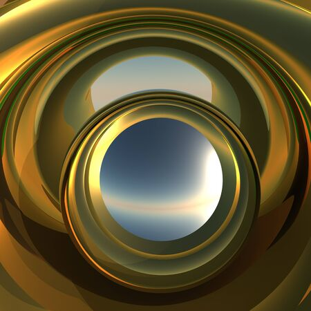 reflect: A cool metallic golden portal. Abstract concept to reflect future opportunity