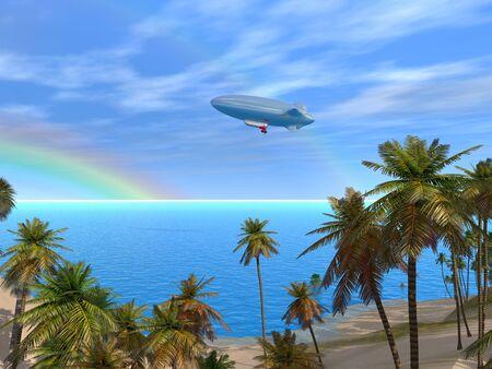 A beautiful caribbean lagoon with boat and rainbow Фото со стока