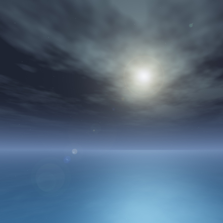 A night horizon with a silky sea and bright moon background.