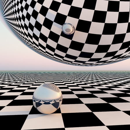 A grid checkered pattern horizon background with a silver mirror orbs.  Abstract concept to leading into future events. Imagens