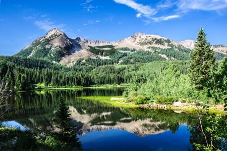 失われた湖スラウとコロラド州 Kebler 峠付近の東ベックウィズ山 写真素材