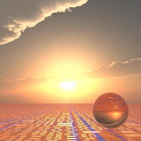 A grid horizon and bright sun background with a crystal ball.  Abstract concept to looking forward to technical future.