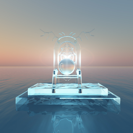 A surreal hunters ice throne floating out into sea.