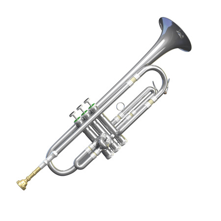 blare: A digital illustration of an isolated trumpet.
