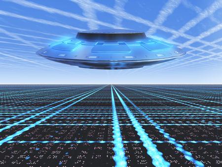 platillo volador: Un horizonte de la cuadrícula infinita con un OVNI volando