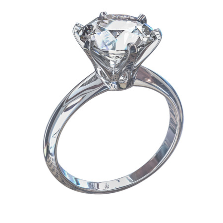 Isolated white gold diamond ring Illustration. illustration