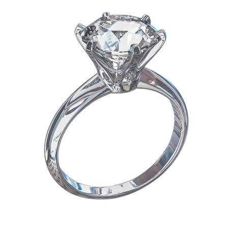 diamond ring: Isolated white gold diamond ring Illustration.