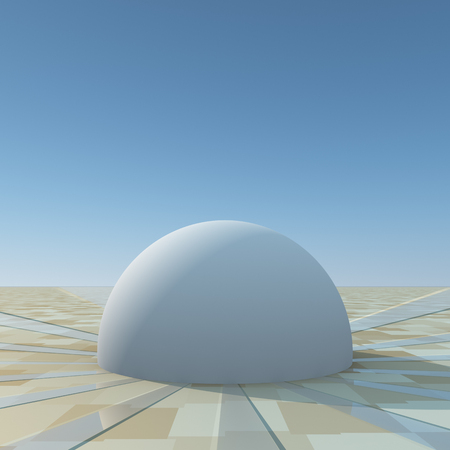 A dome on grid horizon with paths spreading from dome.