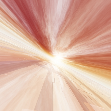 point of view: A surreal background of a red horizon grid to point of sun. Stock Photo