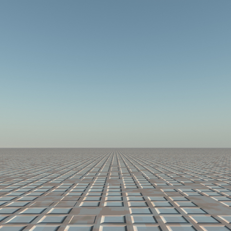 A flat grunge grid to horizon background. Stock Photo