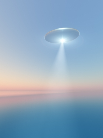 A oval saucer space craft over sea. photo