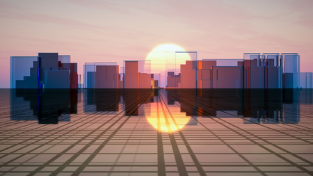 Surreal futuristic glass city on a grid horizon in front of a sunset sky.
